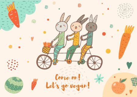 Plantilla de diseño de Cute Bunnies on Bicycle Card