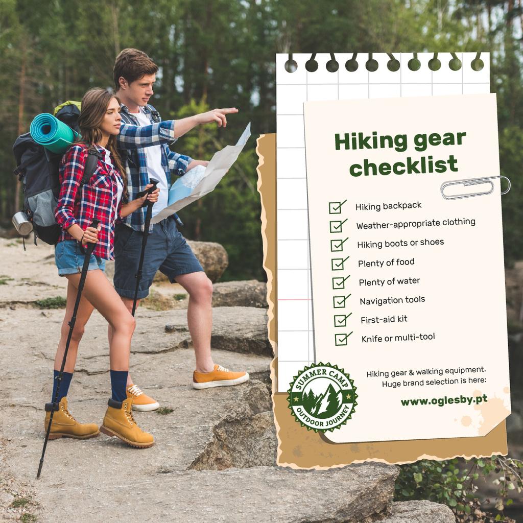 Hiking Offer Backpackers Standing on Cliff Instagram – шаблон для дизайну