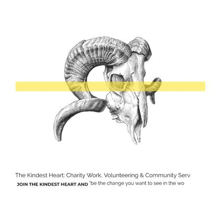 Volunteer Work Quote with animal Skull Instagram AD Tasarım Şablonu