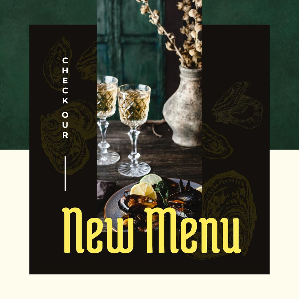 New Menu Ad with Served cooked mussels – Stwórz projekt