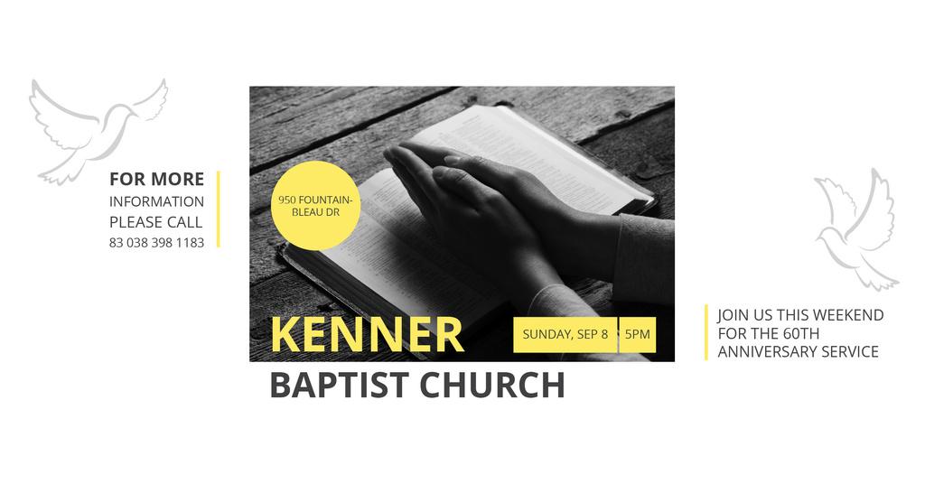 Designvorlage Baptist Church Invitation with Prayer's Palms für Facebook AD