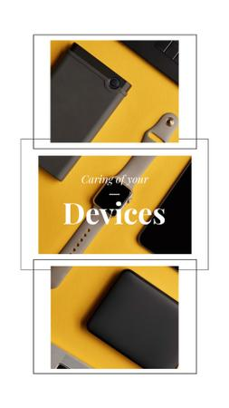 Smart Watch and Digital Devices in Yellow Instagram Video Story Modelo de Design