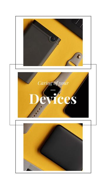 Modèle de visuel Smart Watch and Digital Devices in Yellow - Instagram Video Story