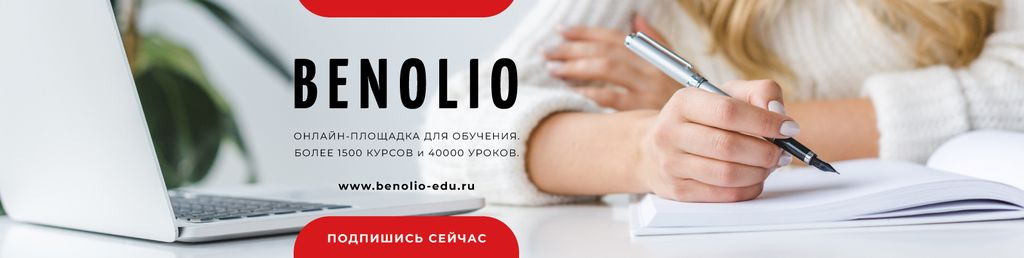 Online Courses Ad with Woman writing by Laptop — Crear un diseño