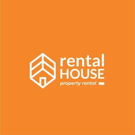 Property Rental with House Icon Logo Modelo de Design