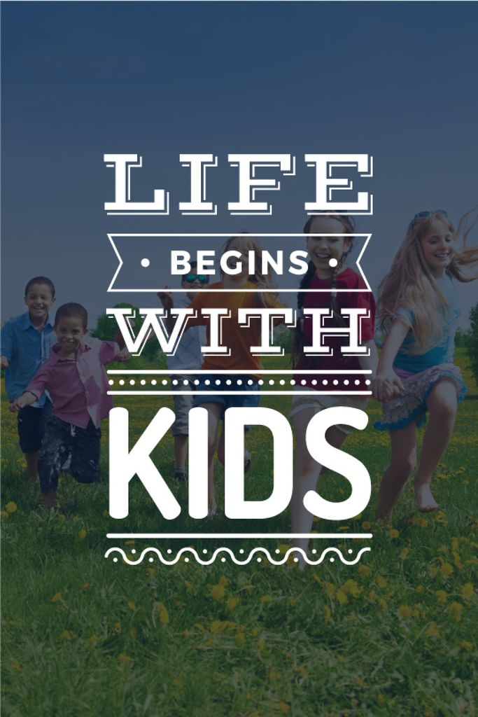 Motivational Quote with Kids on Green Meadow — Создать дизайн