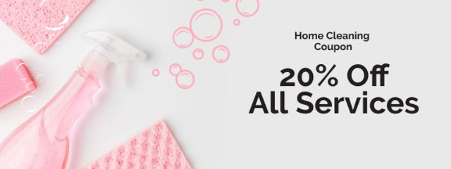 Cleaning Services offer with Pink Soap Coupon – шаблон для дизайна