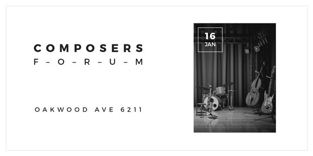 Plantilla de diseño de Composers Forum with Music Instruments on Stage Image