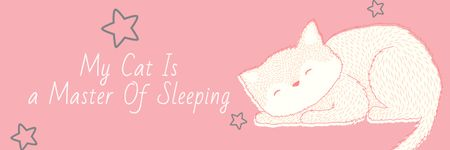 Ontwerpsjabloon van Email header van Citation about sleeping cat