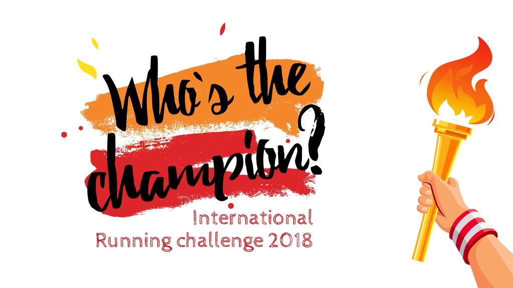 Running Challenge Announcement Hand with Olympic Fire — Modelo de projeto