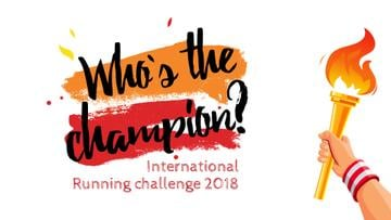 Running Challenge Announcement Hand with Olympic Fire