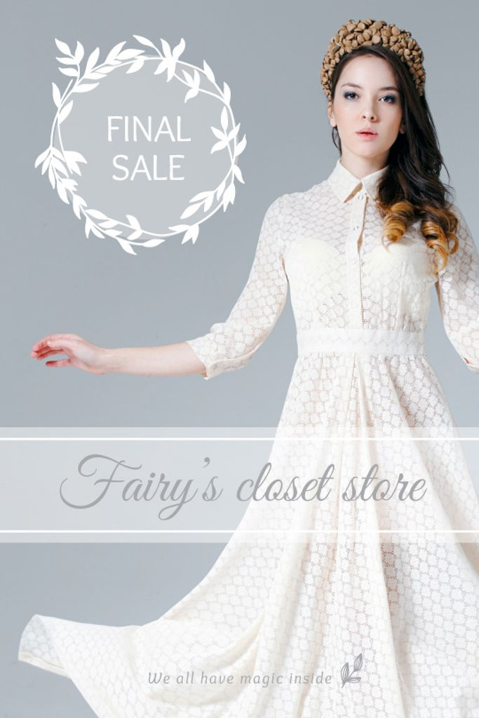 Clothes Sale Woman in White Dress | Tumblr Graphics Template — Maak een ontwerp