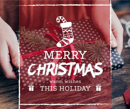 Merry Christmas greeting Woman wrapping Gift Facebook Design Template