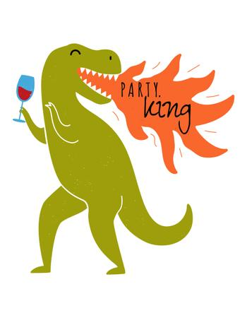 Funny Dinosaur with Glass of Wine breathing Fire T-Shirt Modelo de Design