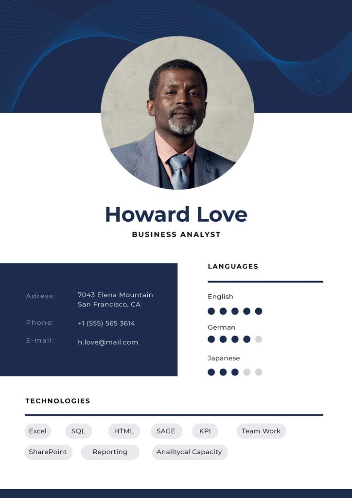 Business Analyst professional profile — Créer un visuel