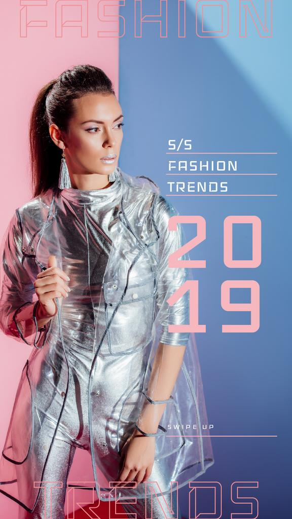 Stylish girl wearing silver clothes — Create a Design