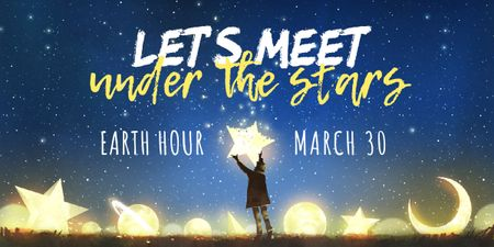 Template di design earth hour banner Image