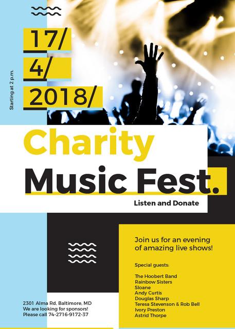 Charity Music Fest Invitation Crowd at Concert Invitation Modelo de Design