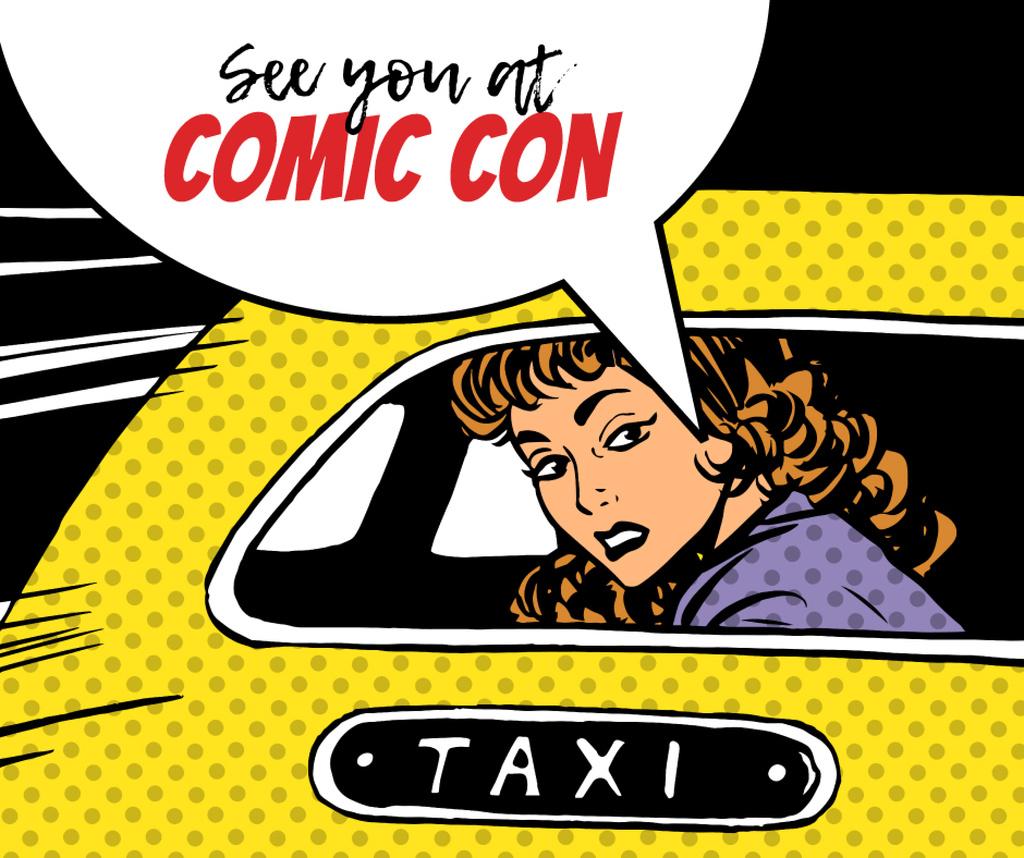 Comic Con invitation Woman in taxi — Crea un design