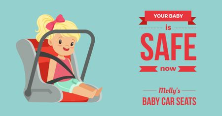 Child in Car Seat Facebook AD Modelo de Design