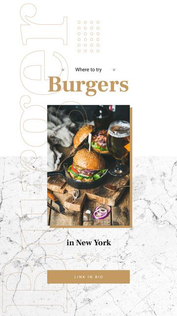 Burger and glass of beer Instagram Story Modelo de Design