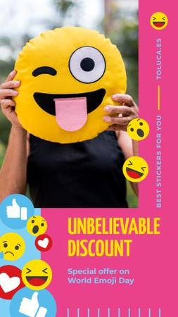 Designvorlage World Emoji Day Offer with Girl Holding Funny Face für Instagram Story