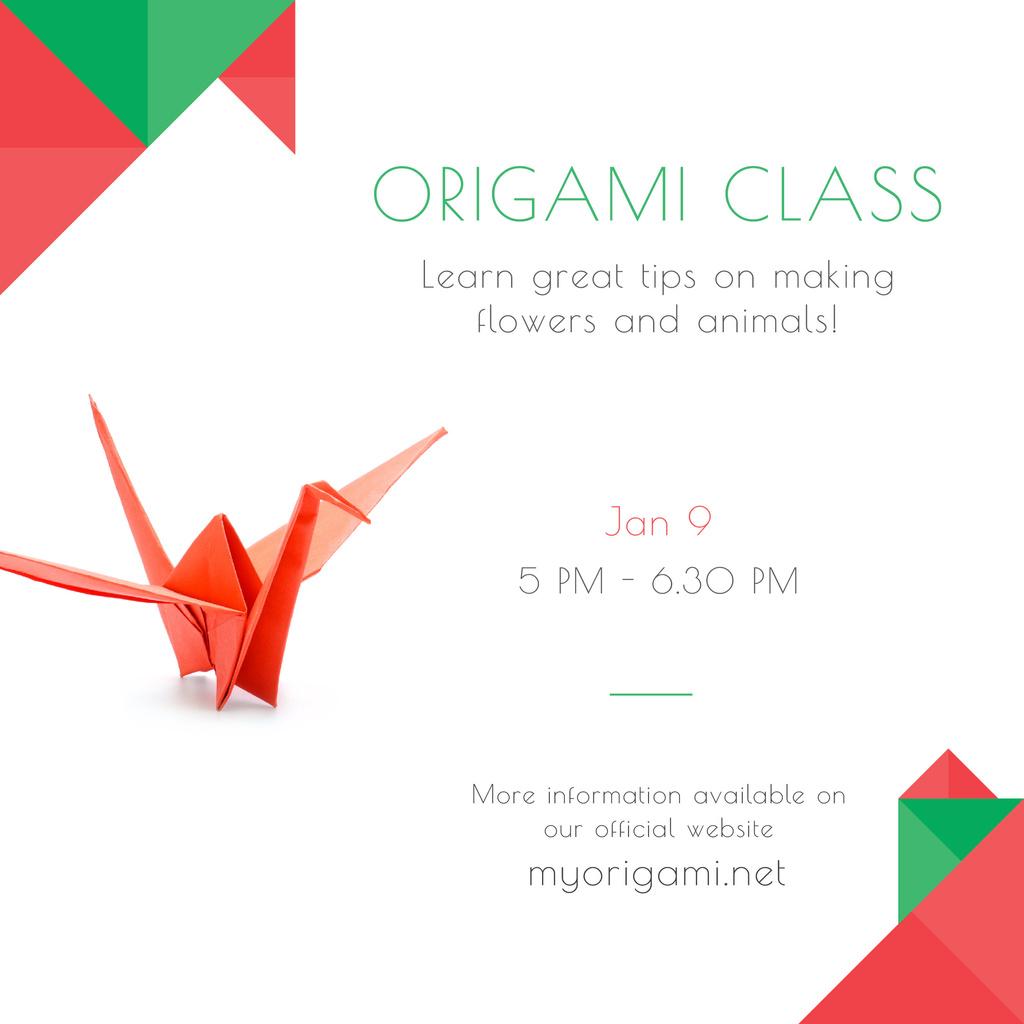Origami Classes Invitation Paper Bird in Red Instagram AD Modelo de Design