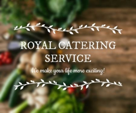 Catering Service Ad Vegetables on Table Medium Rectangle Design Template