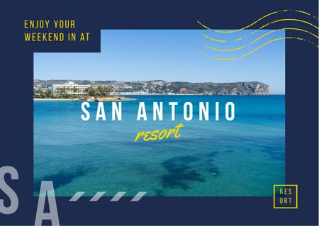 Plantilla de diseño de Resort Ad Seacoast and Blue Water View Postcard
