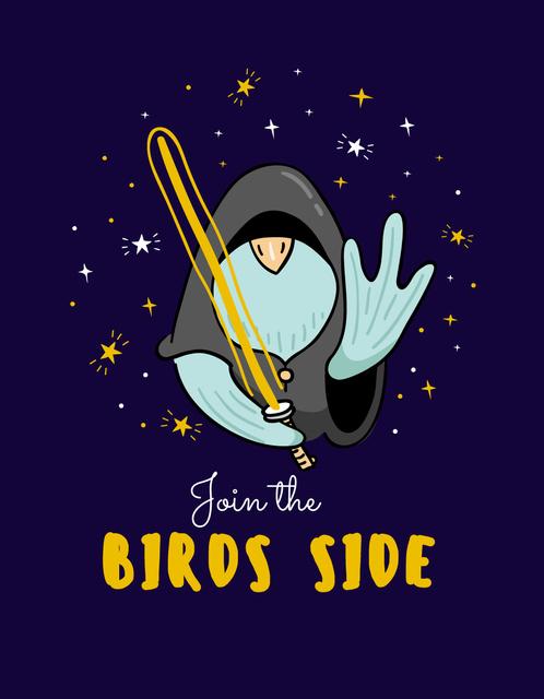 Cute Bird Jedi T-Shirt – шаблон для дизайну