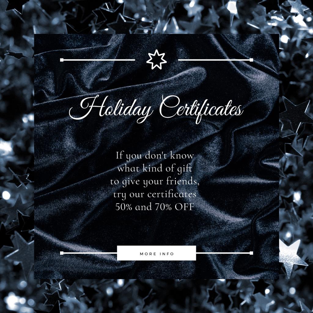 Holiday Gift Certificates Offer Glitter and Velvet in Black — Maak een ontwerp