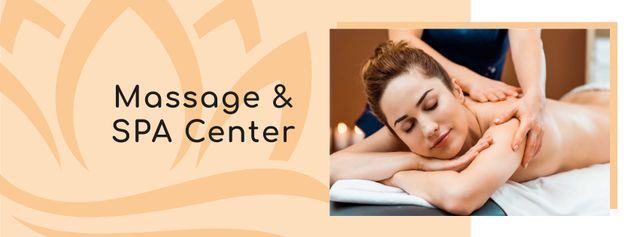Template di design Spa Center Ad with Woman relaxing on Massage Facebook cover