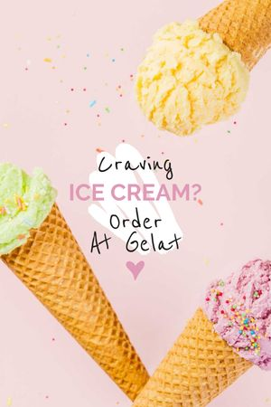Ice Cream ad with cones Tumblr – шаблон для дизайна