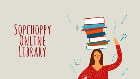 Plantilla de diseño de Library Promotion Woman Balancing Books on Head Full HD video