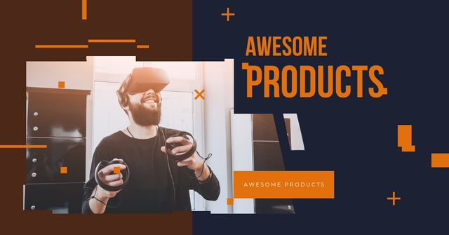 Plantilla de diseño de Man using vr glasses Facebook AD