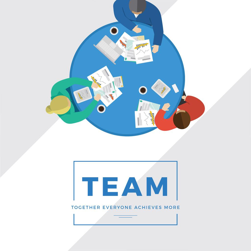 Business people working together at table Instagram – шаблон для дизайна