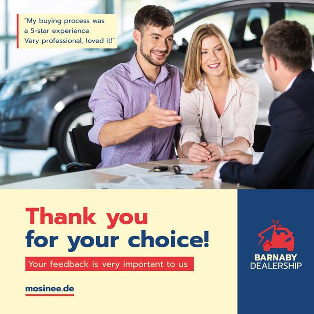 Auto Sales Ad Couple Talking to Dealer Instagram Modelo de Design