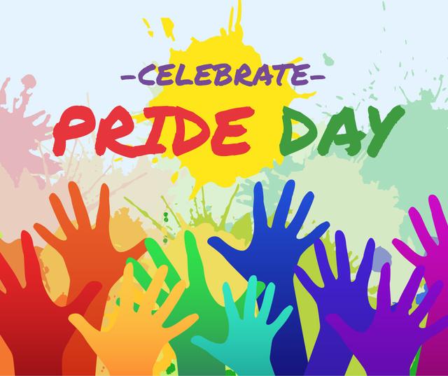 Modèle de visuel LGBT pride crowd hands - Facebook