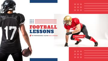 Sport Lessons American Football Player with Ball