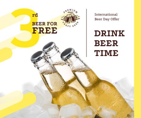 Ontwerpsjabloon van Facebook van Beer Day Offer Bottles on Ice