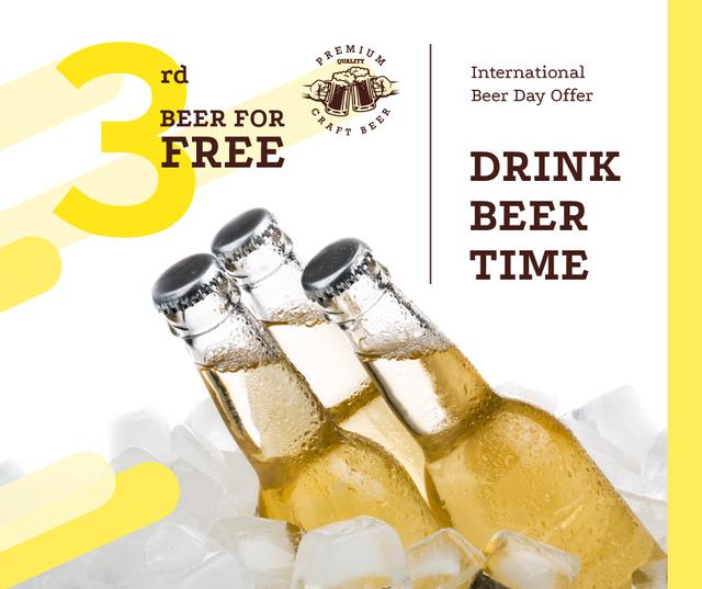 Modèle de visuel Beer Day Offer Bottles on Ice - Facebook