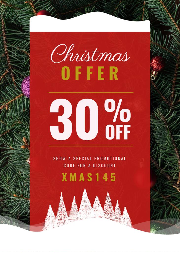 Christmas Offer Decorated Fir Tree — Створити дизайн