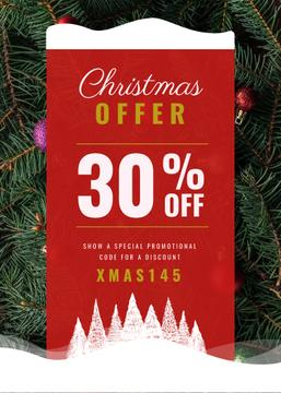 Christmas Offer Decorated Fir Tree | Flyer Template