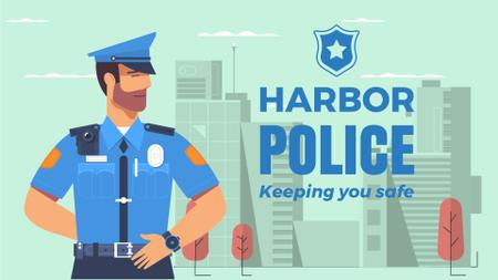 Plantilla de diseño de Police Officer in City Full HD video