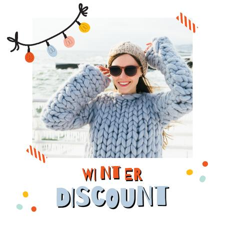 Template di design Winter Sale with Girl in Chunky Sweater Animated Post