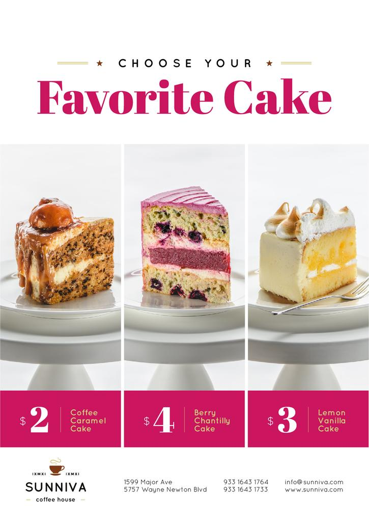 Bakery Ad Assortment of Sweet Cakes | Poster Template — Modelo de projeto