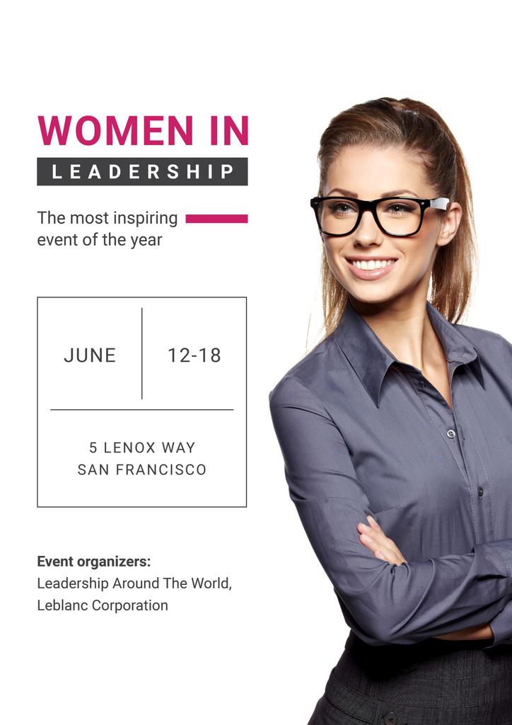 Business Event Announcement with Smiling Businesswoman — Créer un visuel