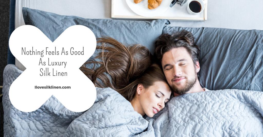 Luxury silk linen website with couple sleeping — Créer un visuel