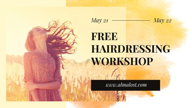 Hairdressing Workshop Ad with Young Girl in field FB event cover – шаблон для дизайну