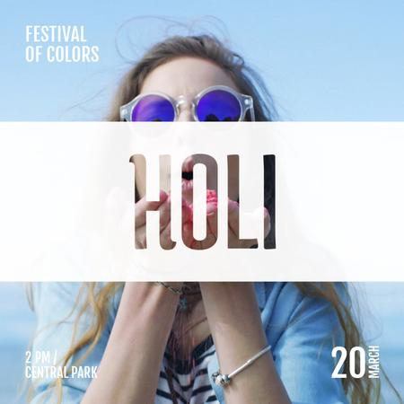 Indian Holi Festival Celebration with Girl Blowing Paint Animated Post Modelo de Design